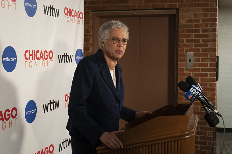 Toni+Preckwinkle+touted+her+endorsements+from+Chance+the+Rapper+and+The+Chicago+Teachers+Union.