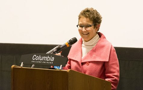 Senior Vice President and Provost candidate Lourdes María Alvarez addressed members of the Columbia College Chicago community Feb. 7 at Film Row Cinema, 1104 S. Wabash Ave.