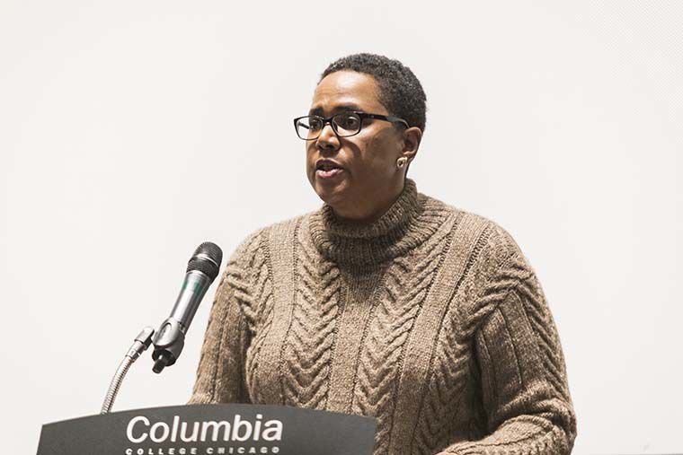 Senior Vice President and Provost candidate Marcella David addressed the Columbia College community during her Feb. 14 presentation at Film Row Cinema, 1104 S. Wabash Ave.