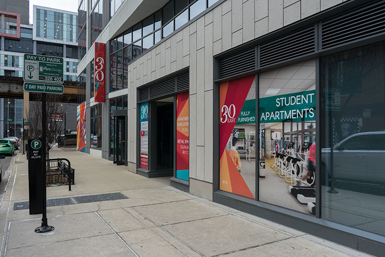 The+30+E.+Balbo+Dr.+building+stands+at+the+corner+of+Wabash+Ave.+and+Balbo+Dr.+Fully+furnished+apartments+with+in-unit+laundry+will+be+available+for+Columbia+students+next+fall+through+Residence+Life.%C2%A0
