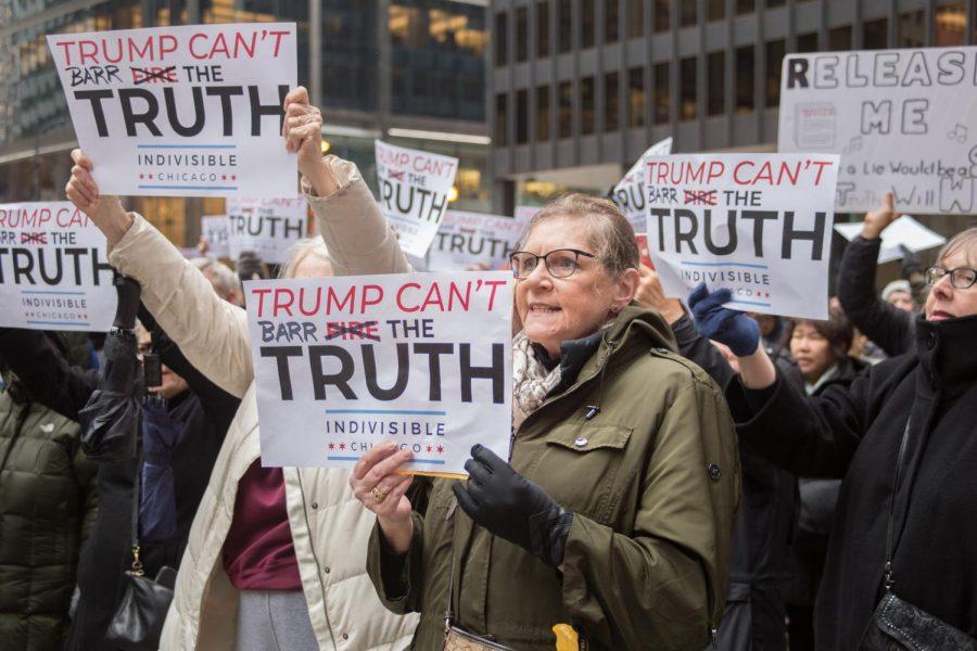 Mueller Report protestors in Federal Plaza
