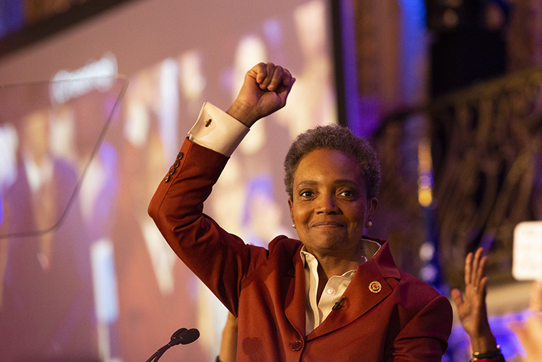 Lori+Lightfoot+celebrates+her+victory+in+the+2019+mayoral+election+at+the+Hilton+Chicago%2C+720+S.+Michigan+Ave.%2C+April+2.