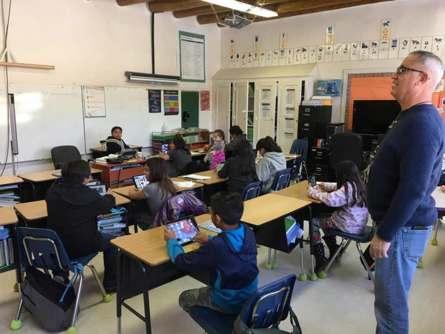 Columbia donated 14 iPads to an elementary school in New Mexico located on the Taos Pueblo Indian Reservation for students to learn civic media skills with the technology.