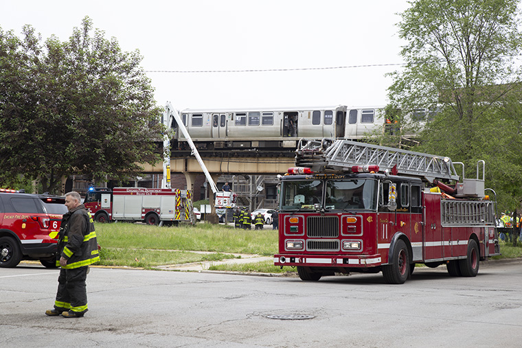 About 30 passengers were on the CTA Green Line train at 11 a.m. when it had derailed near the 47th Green Line station, June 6.