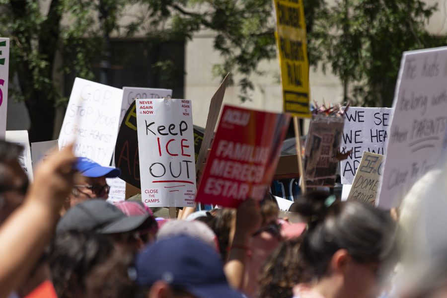 Signs+at+the+July+13+demonstration+called+for+Immigration+and+Customs+Enforcement+to+be+abolished%2C+and+for+the+impeachment+of+President+Donald+Trump.