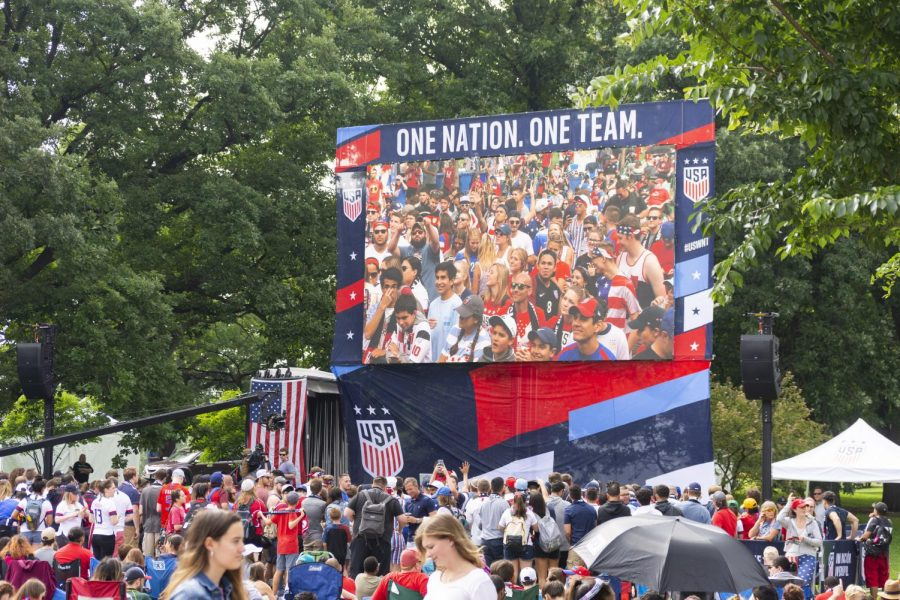 Soccer+fans+gathered+July+7+in+Lincoln+Park+to+watch+the+United+States+Women%27s+National+Team+take+on+the+Netherlands+in+the+FIFA+Women%27s+World+Cup+Final.+The+U.S.+won+their+fourth+championship+behind+goals+from+Megan+Rapinoe+and+Rose+Lavelle.