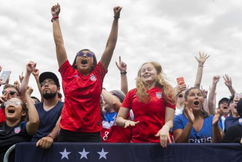 The crowd in Lincoln Park erupts as Megan Rapinoe scored the team