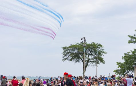The Royal Air Force Aerobatic Team, known as the Red Arrows, performed their first demonstation in North America Aug. 17 at the 61st annual Chicago Air and Water Show.