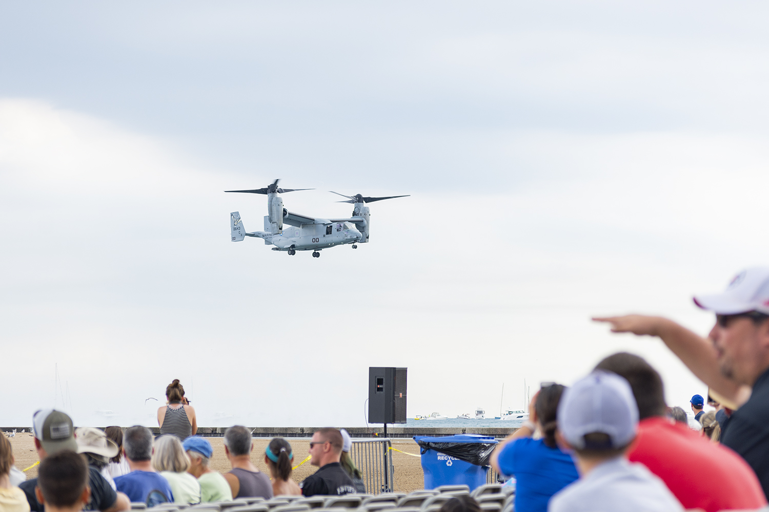 The+United+States+Marine+Corps+MV-22+Osprey+hovers+above+North+Avenue+Beach+at+the+61st+annual+Chicago+Air+and+Water+Show+Aug.+17.