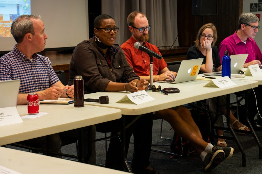 Provost Marcela David adresses the Faculty Senate members during the Sep. 13 meeting.