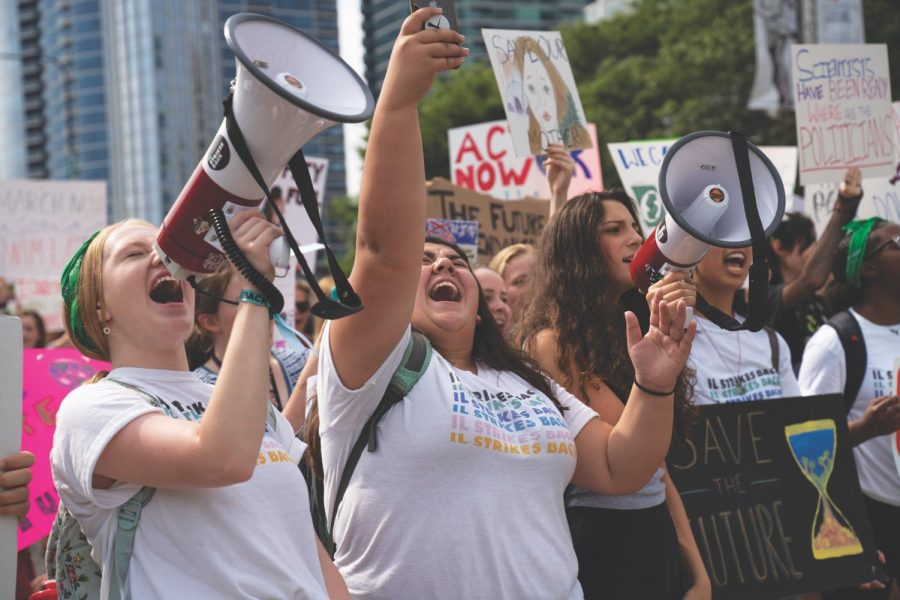 Student leaders from the Chicago Sunrise Movement lead the march with organized chants Sept. 20, calling for action against the climate crisis.