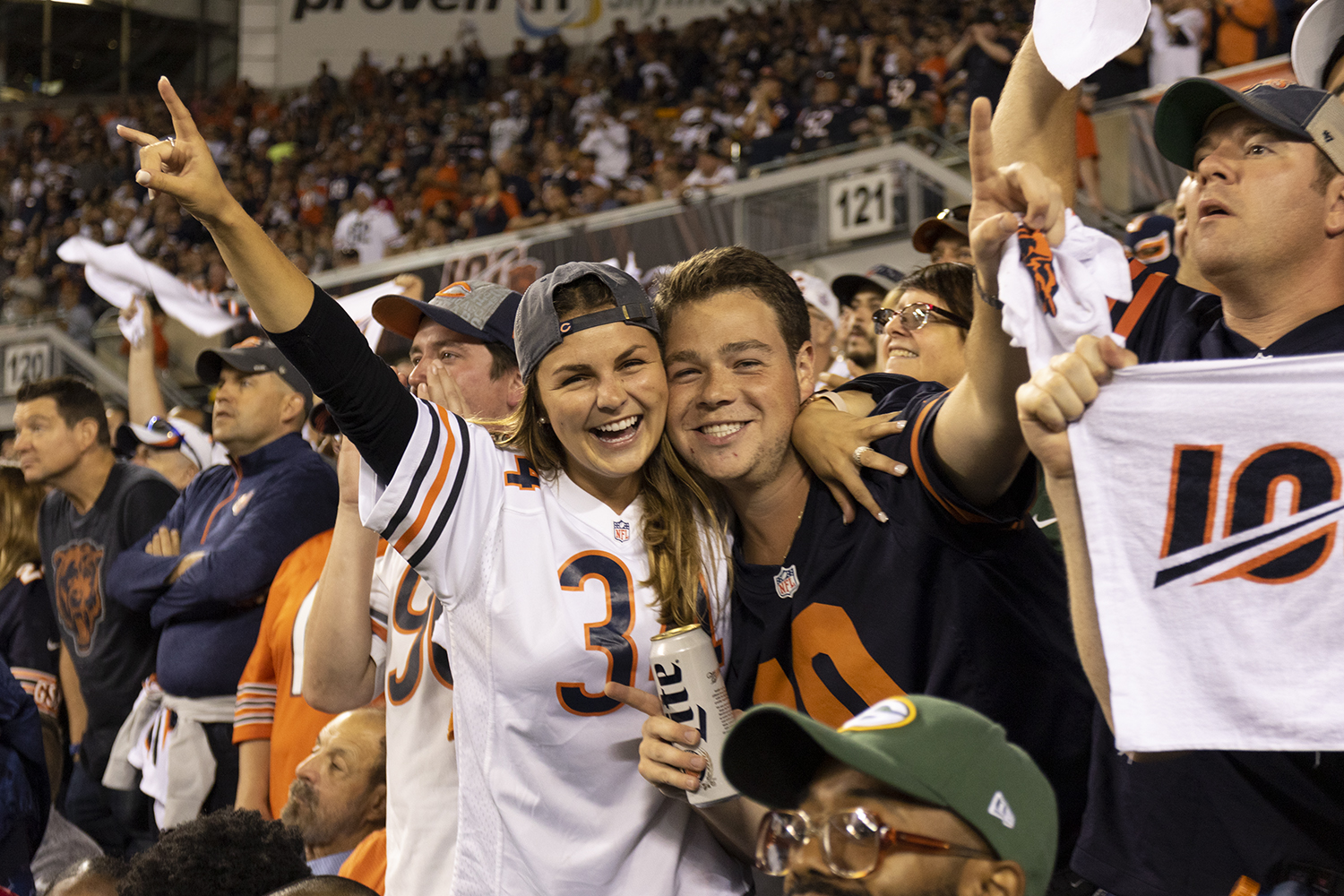 Two+Bears+fans+strike+a+pose+at+Soldier+Field+Sept.+5.
