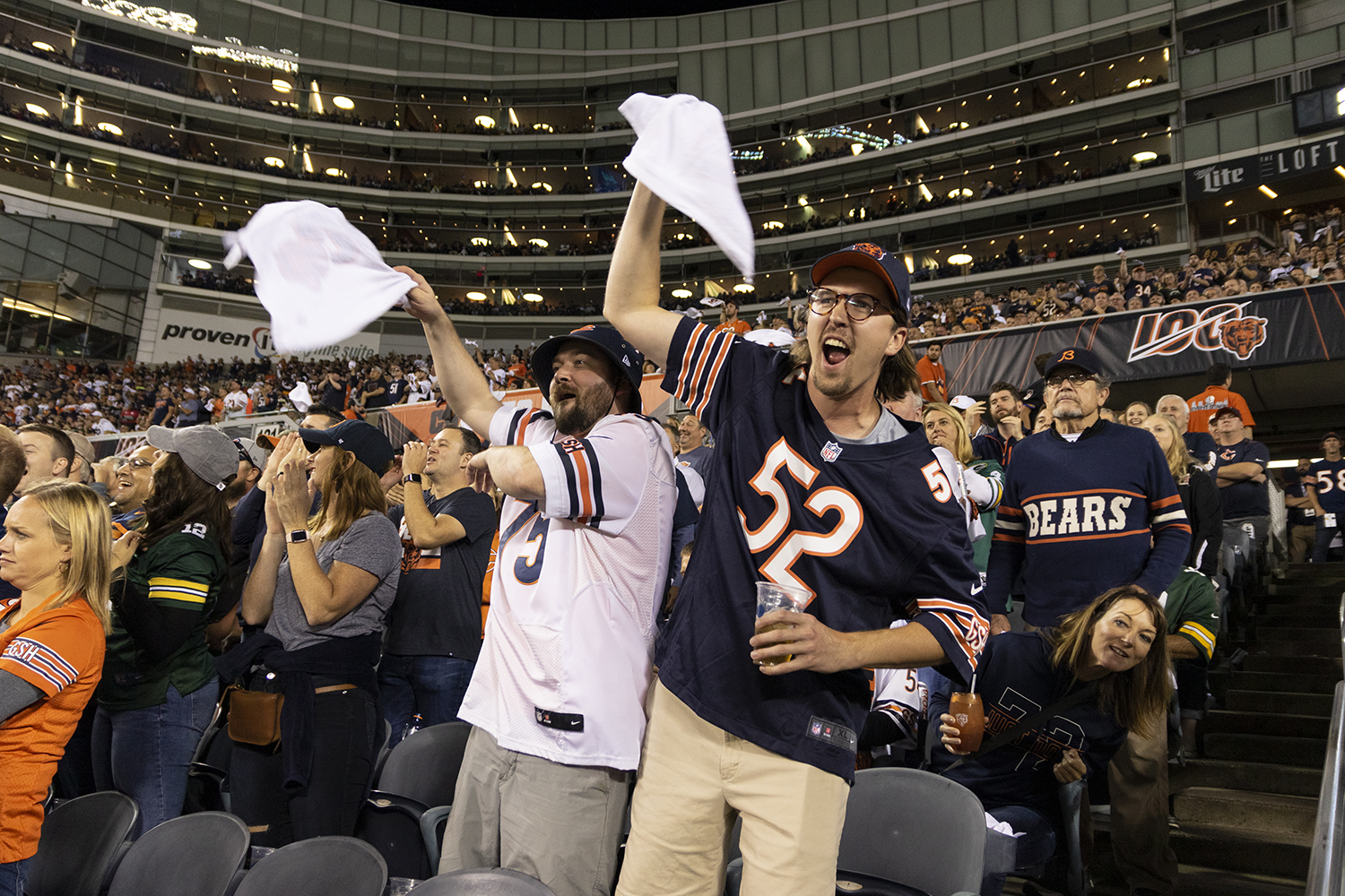 Fans+cheer+on+the+Bears+as+they+take+on+the+Green+Bay+Packers+Sept.+5.