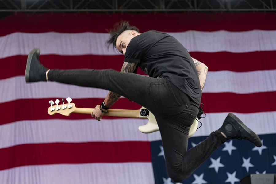 Chris+Barker+of+Anti-Flag+performs+on+the+Radicals+Stage+Sept.+13+at+Riot+Fest+in+Douglas+Park.
