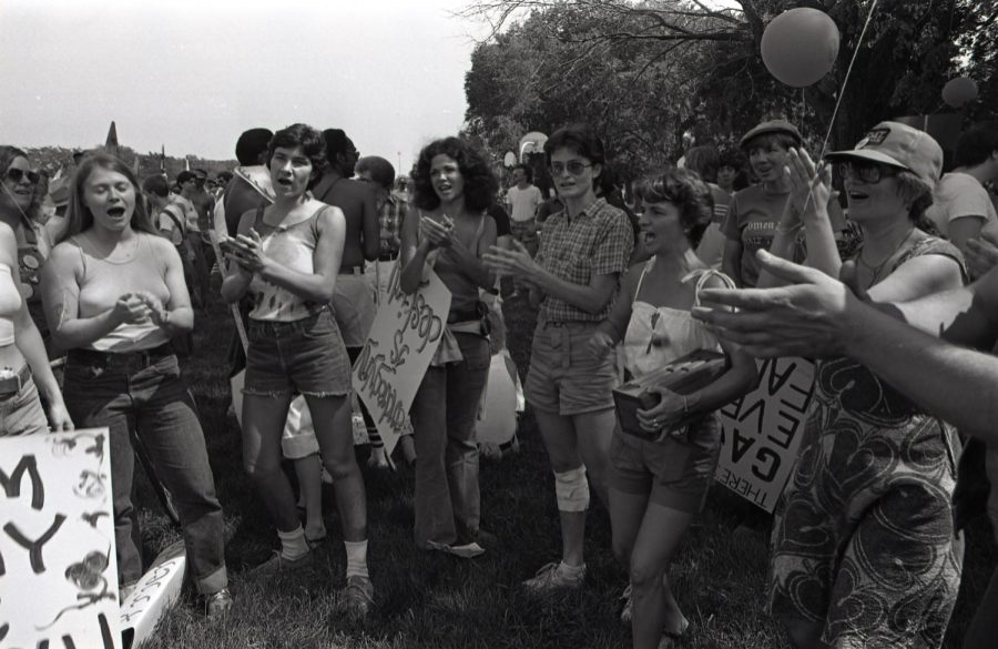 Lesbians in 1977 Gay Pride Parade. Judy Brabec on the left, In the middle: Kathleen Thompson and Christine Masterson.