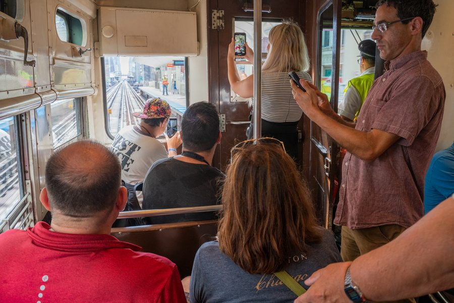 Riders capture a view of the Loop from the vintage train's front facing windows on the train Oct. 1.