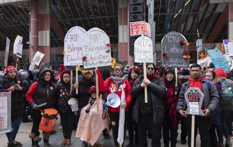 Bilingual Latinx teachers organize outside City Hall Oct. 23 as part of the CTU strike amid negotiations with the city.