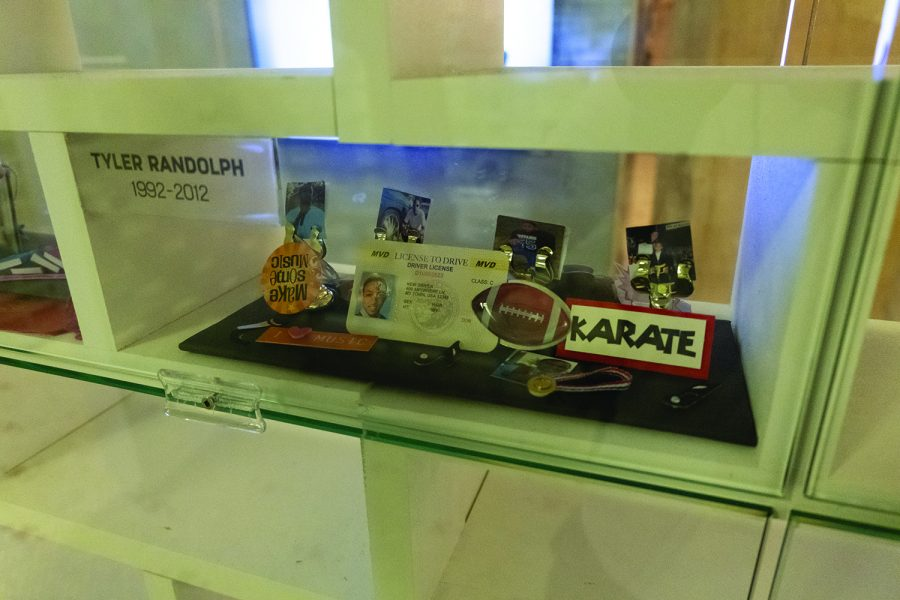 The memorial displays items from people who lost their lives to gun violence.