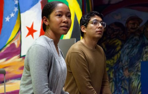 Dejah Powell and Brian Gomez from the Sunshine Movement take questions from the audience about the Green New Deal, Oct. 24, 803 South Morgan Street.