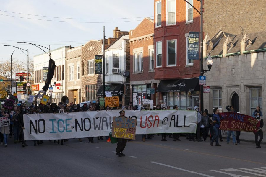 Stolen+Kids%2C+Stolen+Land+protest+participants+make+their+way+toward+the+International+Youth+Center%2C+1620+W.+Chase+Ave.%2C+Saturday%2C+Oct.+12.