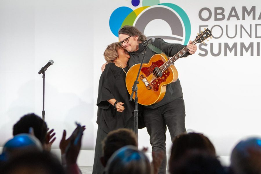 Special guest artists Mavis Staples and Jeff Tweedy pull in for an embrace.