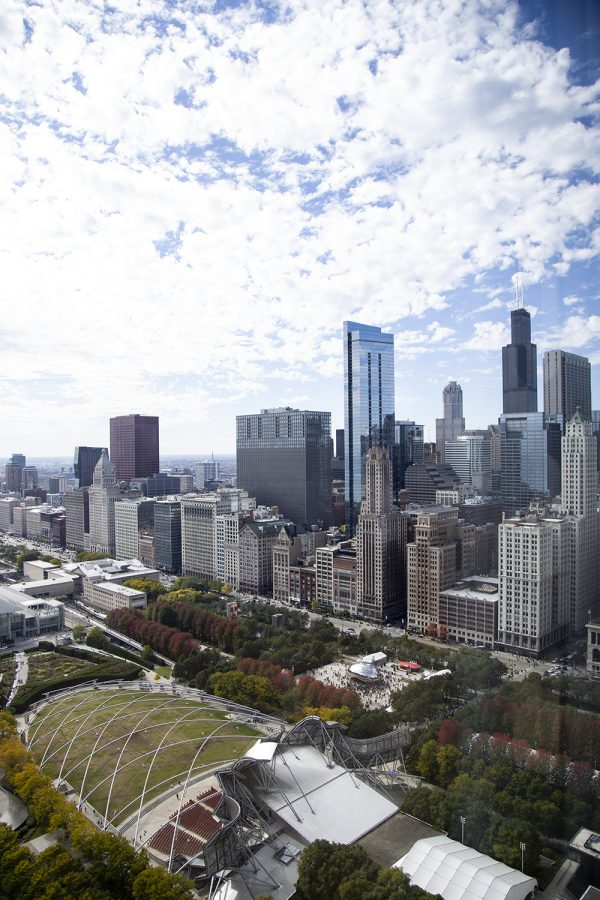 Attendees got an upscale look at Millennium Park and the Jay Pritzker Pavilion from the Blue Cross Blue Shield Tower, 300 E. Randolph St.