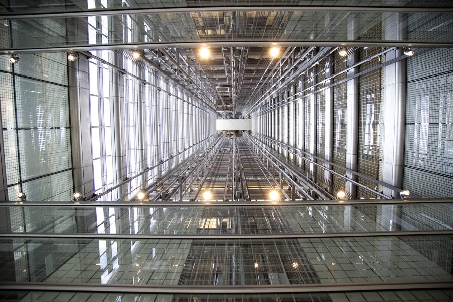 An unconventional view of an elevator shaft in the Blue Cross Blue Shield building.
