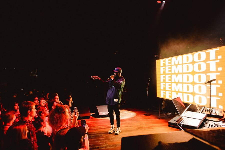 Femdot. lit up Lincoln Hall, performing songs such as 94 Camry Music.