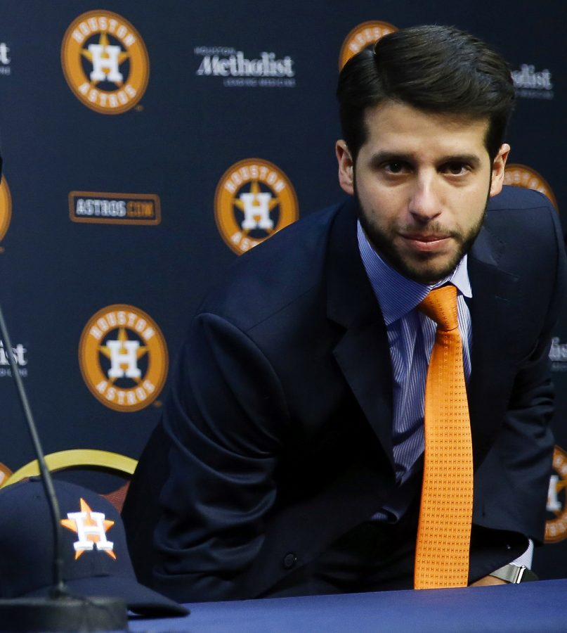 In this Jan. 17, 2018, file photo, Houston Astros Senior Director of Baseball Operations Brandon Taubman attends a baseball news conference in Houston. The Astros have fired Taubman for directing inappropriate comments at female reporters following Houston's pennant-winning victory over the New York Yankees.