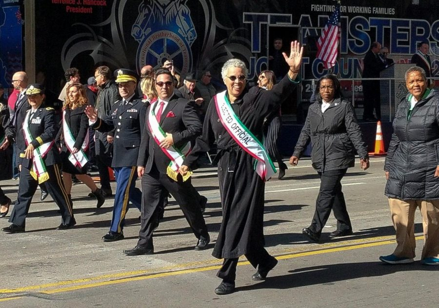 Cook County Board President Toni Preckwinkle walks in the 67th annual Columbus Day Parade, Oct. 14.