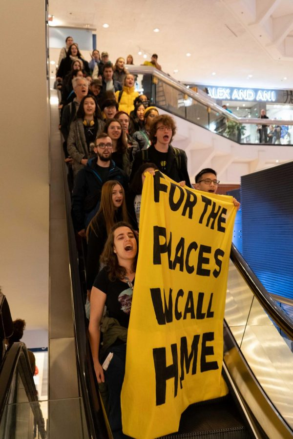 Young protesters, led by Illinois Youth Climate Strike and Sunrise Movement Chicago, sing while they go from the fifth story of Water Tower Place to the street.
