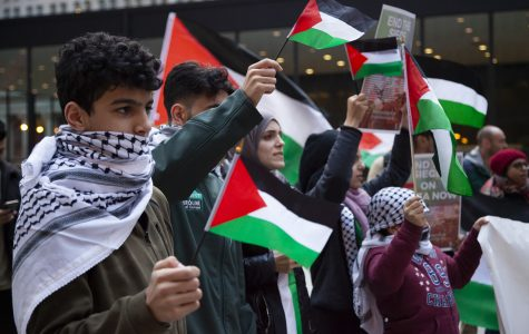 People of all ages come to Federal Plaza to protest recent bombings of Gaza Wednesday, Nov. 20.