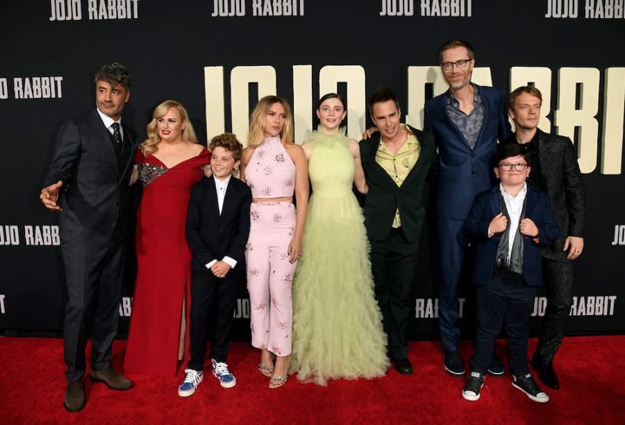 "The cast of ""Jojo Rabbit,"" a satirical film about a young boy in Nazi Germany who befriends a Jewish girl he finds living in his walls."