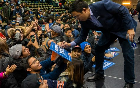 Yang interacts with supporters following his speech Thursday, Dec. 5.