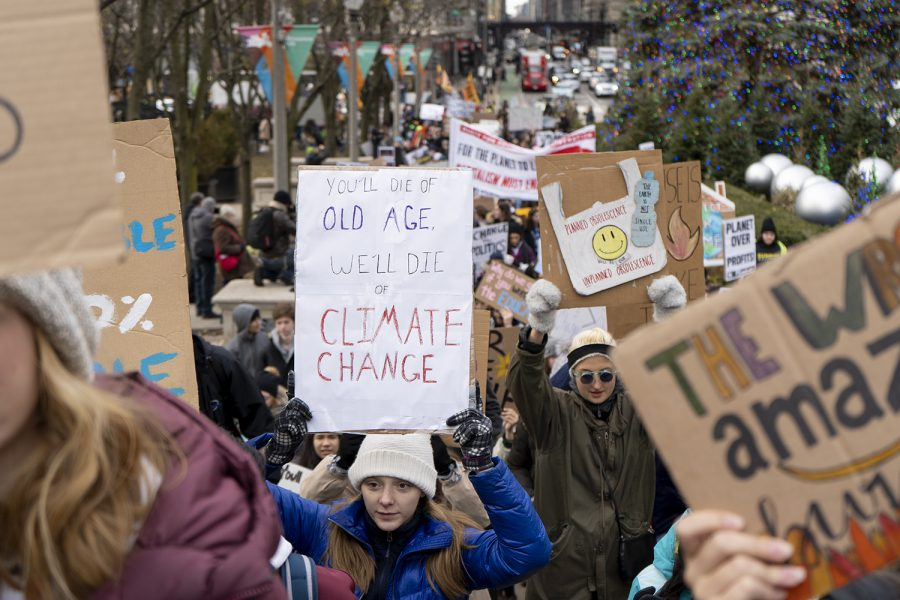 Climate+strikers+gathered+on+Friday%2C+Dec.+6+at+Crown+Fountain+in+Millennium+Park%2C+201+E.+Randolph+St.