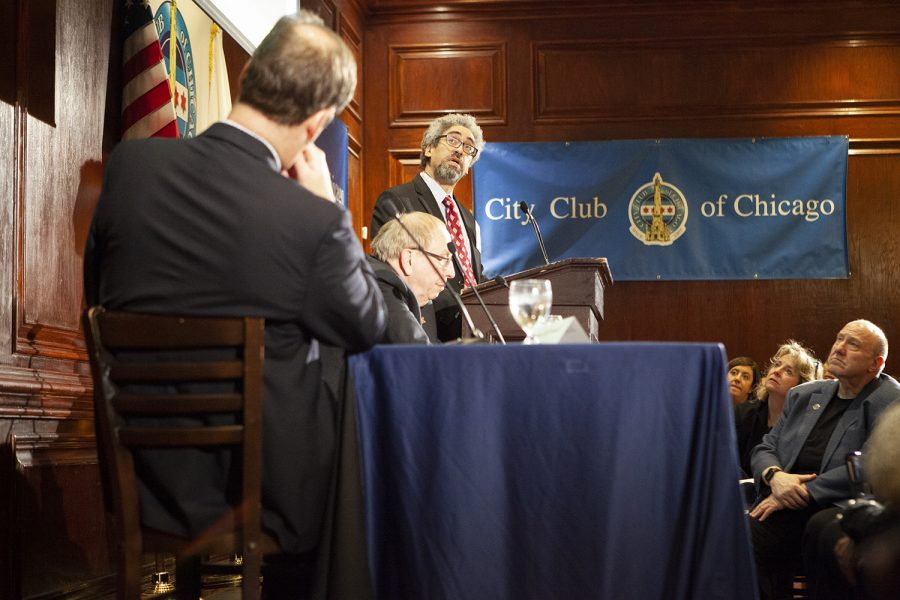 (From left) WBEZ's Jerome McDonnell; Donald Wuebbles, a professor of atmospheric science at the University of Illinois; and Troy Peters from Audubon speak to the City Club of Chicago about ways to lower the carbon footprint.