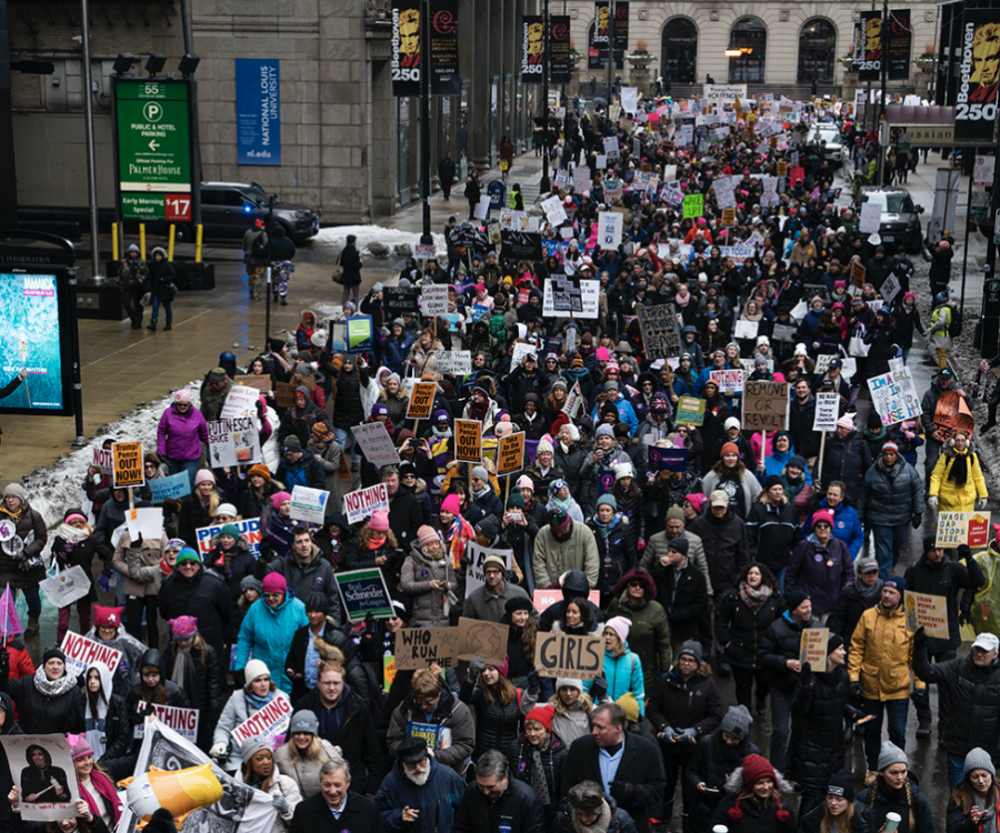 Thousands of marchers make their way down Adams Street during the Chicago Women's March, Saturday, Jan. 18.