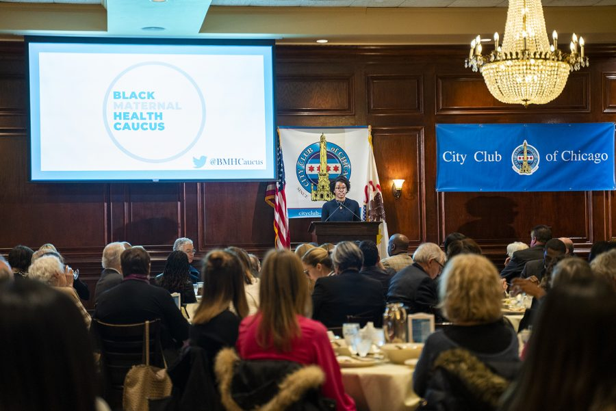 Rep. Lauren Underwood (D-14) speaks at City Club of Chicago, hosted at Maggiano's, 111 W. Grand Ave., about the motivation behind the Black Maternal Health Caucus, which she helped form.
