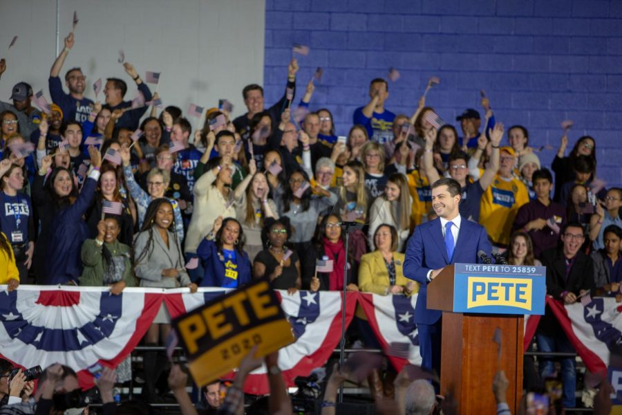 The caucus results were still delayed by the time Pete Butigieg stepped on stage to address his supporters on the campus of Drake University on Monday, Feb. 4, 2020, in Des Moines, Iowa.