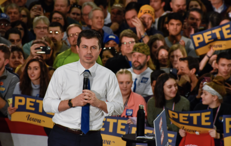 One day before the Iowa Caucus is set to take place, Democratic presidential candidate Pete Buttigieg speaks at Lincoln High School in Des Moines, Iowa, on Feb. 2, 2020. At 38 years old, Buttigieg is the youngest candidate running.