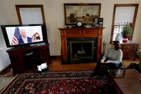 Lally Doerrer watches former Vice President Joe Biden