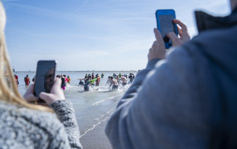 Some choose to simply participate in the Polar Plunge as spectators, watching and recording the event from the sidelines.