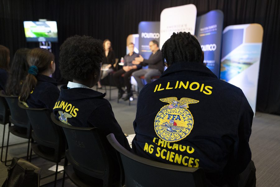 Chicago chapter members of the Future Farmers of America, an organization that prepares youth across the U.S. for careers promoting agriculture, sit front and center at the panel.