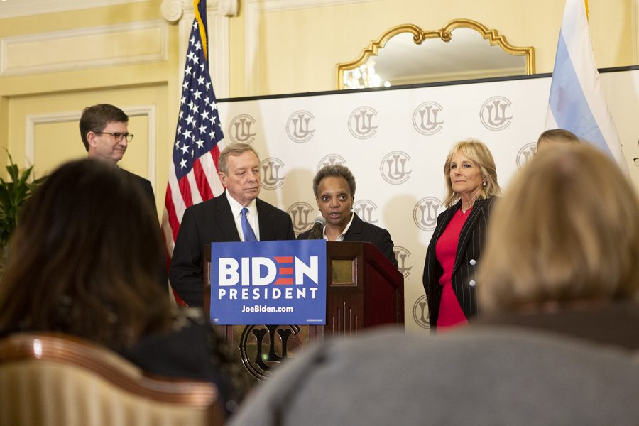 (Right) Jill Biden, wife of former Vice President Joe Biden, joins Mayor Lori Lightfoot (center) and Sen. Dick Durbin (left) as they endorse Joe Biden for president.