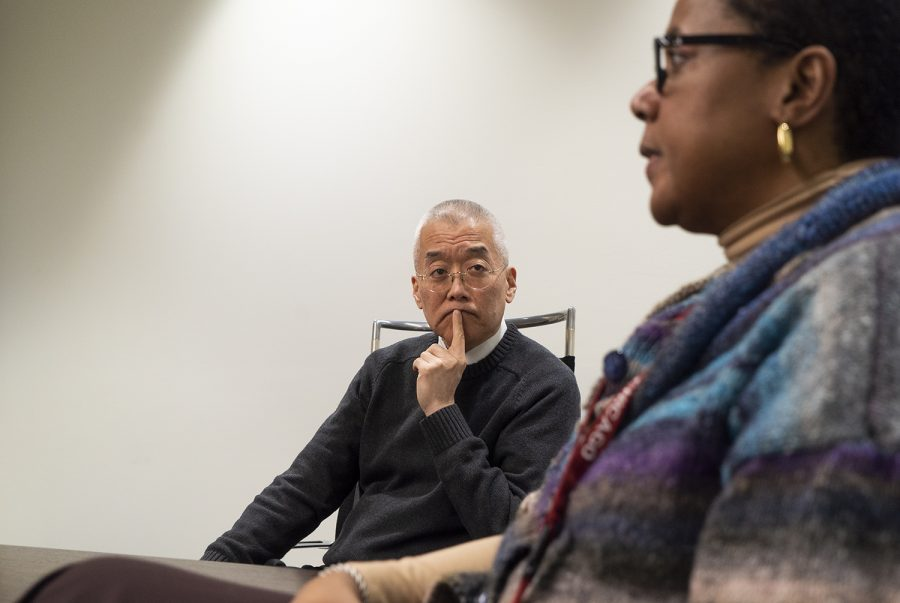 President and CEO Kwang-Wu Kim listens as Senior Vice President and Provost Marcella David discusses how the suspension of in-person classes will impact instruction.