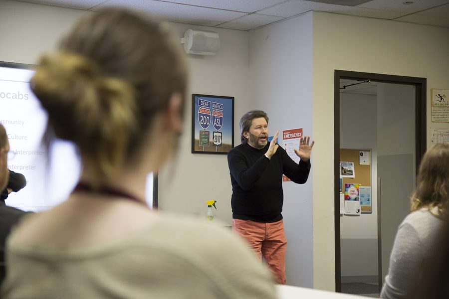 ASL Tutor Peter Wujcik, from the American Sign Language Department, answers questions on the duties of interpreters.