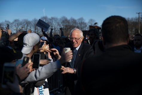 Sen. Bernie Sanders (I-Vt.), 2020 Democratic presidential candidate, shakes hands with supporters in Chicago during his Saturday, March 7 rally in Grant Park.