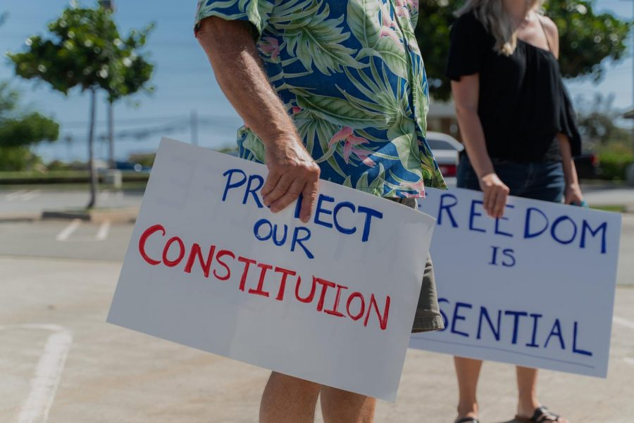 Demonstrators in Hawaii protest against stay-at-home orders being implemented to stem the coronavirus pandemic.