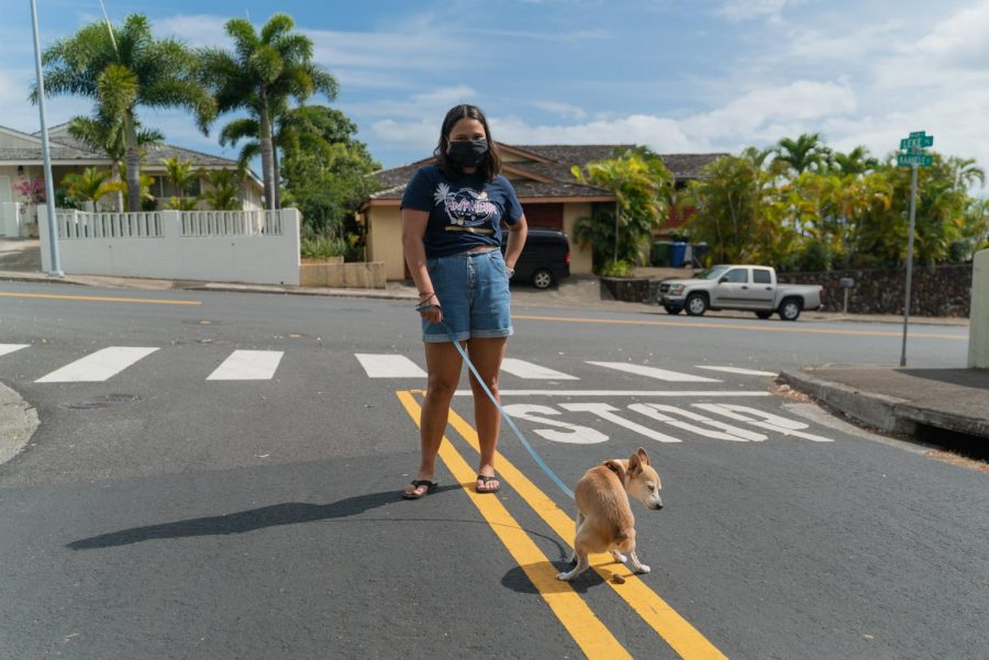 Camryn Tabiolo, a sophomore filmmaking student at Columbia who came back to Hawaii during the state-wide shutdown, often goes on a walk with her family and dog, Finn, in Ewa Beach, Hawaii.