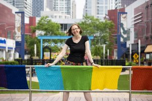 South Loop yarn bomber strikes again, bringing joy and beauty for Pride month